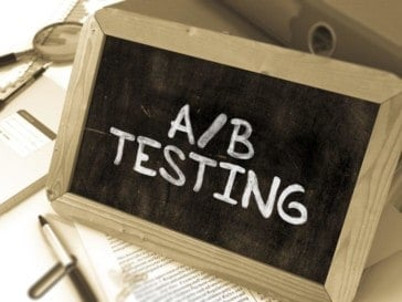 AB Testing Handwritten on Chalkboard.