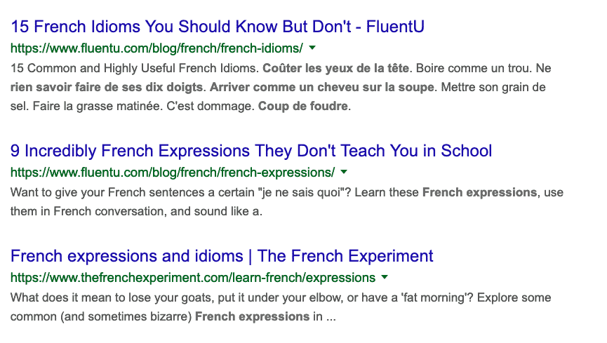 French expressions SERPS
