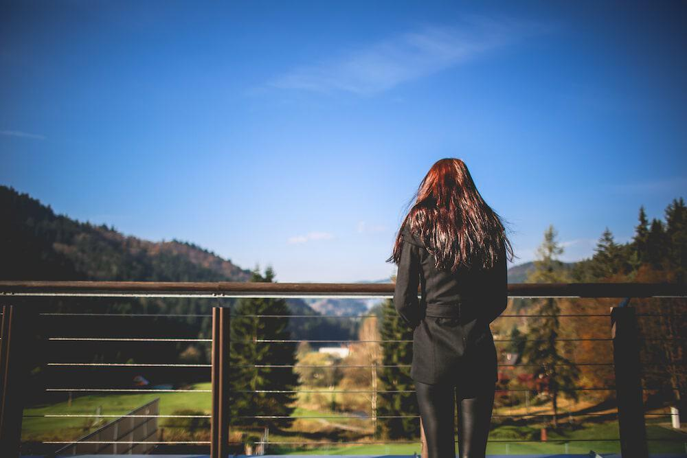 Girl Looking At Landscape Nature