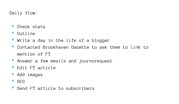 list of tasks in a day as a blogger