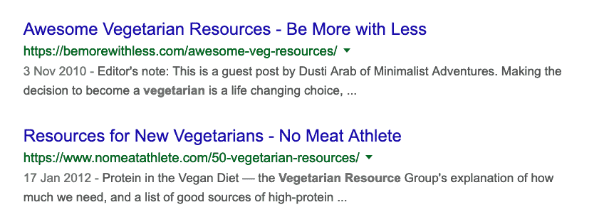 vegetarian resource pages
