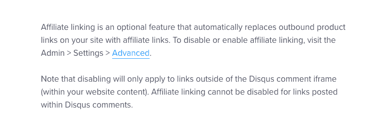 Disqus help page showing that affiliate links can't be disabled.
