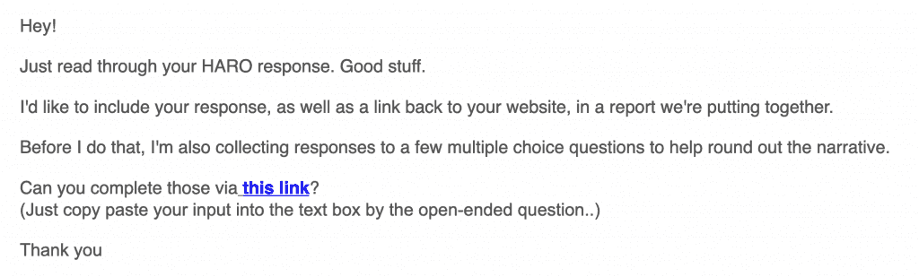 Example of Help A Reporter Out follow up email from journalist