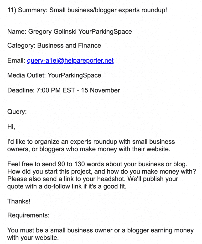 Help A Reporter Out Query, looking for bloggers