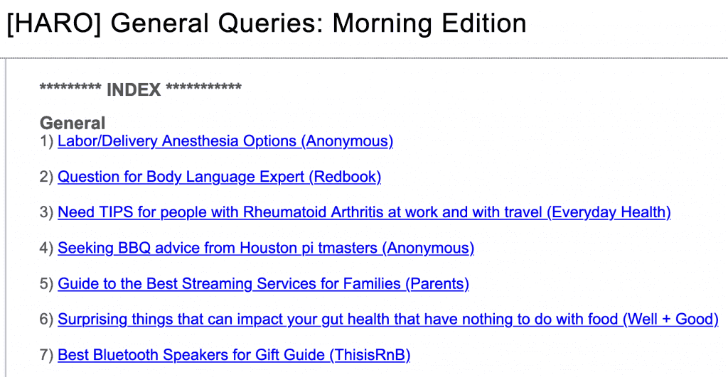 Examples of HARO queries