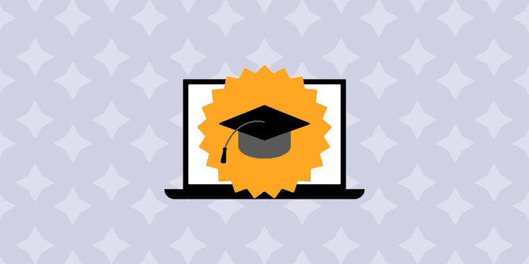 illustration of graduation hat on laptop screen