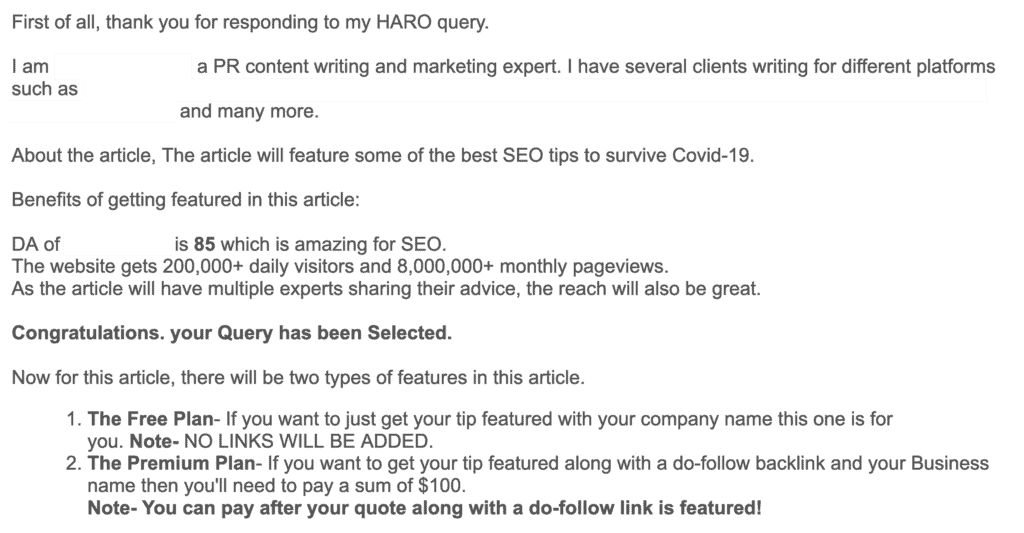 email from HARO journalist asking to pay for backlink